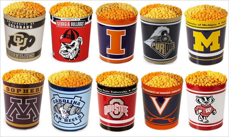 College gear popcorn gift tins Illinois Georgia North Carolina Virginia Michigan
