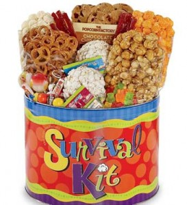 college care package survival kit popcorn gift tin snack assortment
