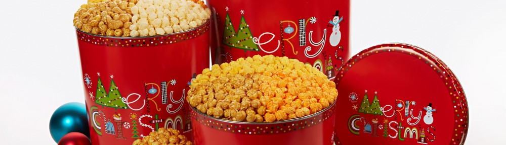 Christmas gift tin popcorn merry christmas snowmen