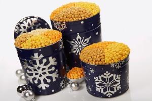 Christmas gift tin popcorn snowflakes