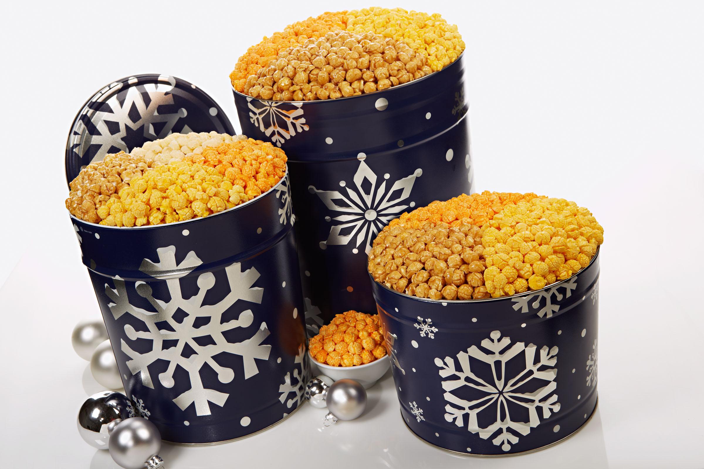 Popcorn Christmas Tins