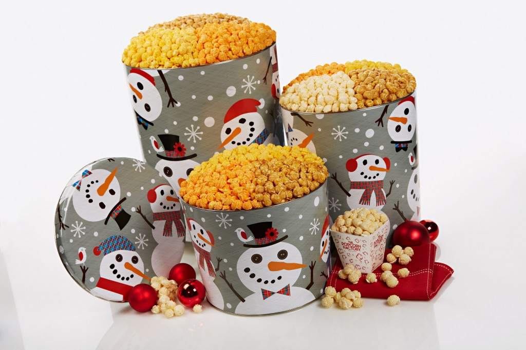 Christmas gift tin popcorn snowman