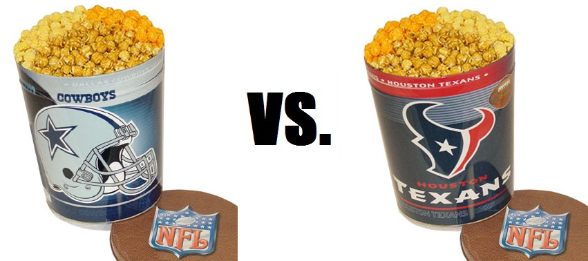 Cowboys and Texans Football-Themed Popcorn Tins