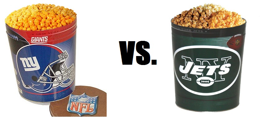 Giants and Jets Football-Themed Popcorn Tins