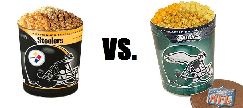 Steelers and Eagles Football-Themed Popcorn Tins