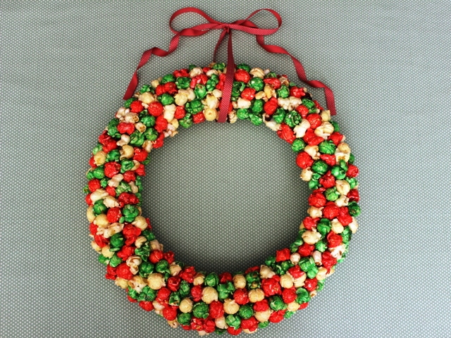 Christmas Wreath Made With Holiday Popcorn