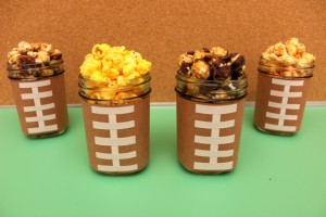 Football Mason Jars Filled With Popcorn