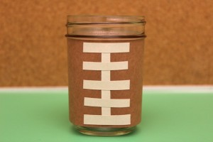 Football Sleeve Wrapped Around Mason Jar
