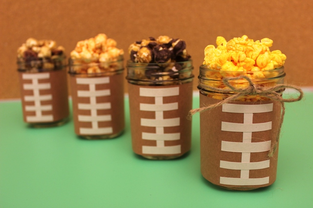 Popcorn Served in Football Mason Jars for Super Bowl