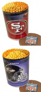 San Francisco 49ers and Baltimore Ravens NFL Popcorn Tins