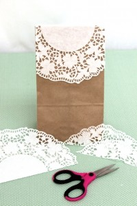 Doily Folded in Half and Trimmed to Fit on Top of Paper Bag
