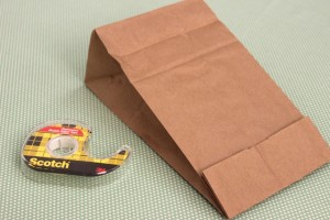 Mouth of Paper Bag Folded and Held in Place With Double-Sided Tape