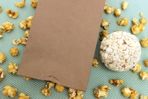 Paper Bag Filled With Popcorn and Sealed With Double-Sided Tape