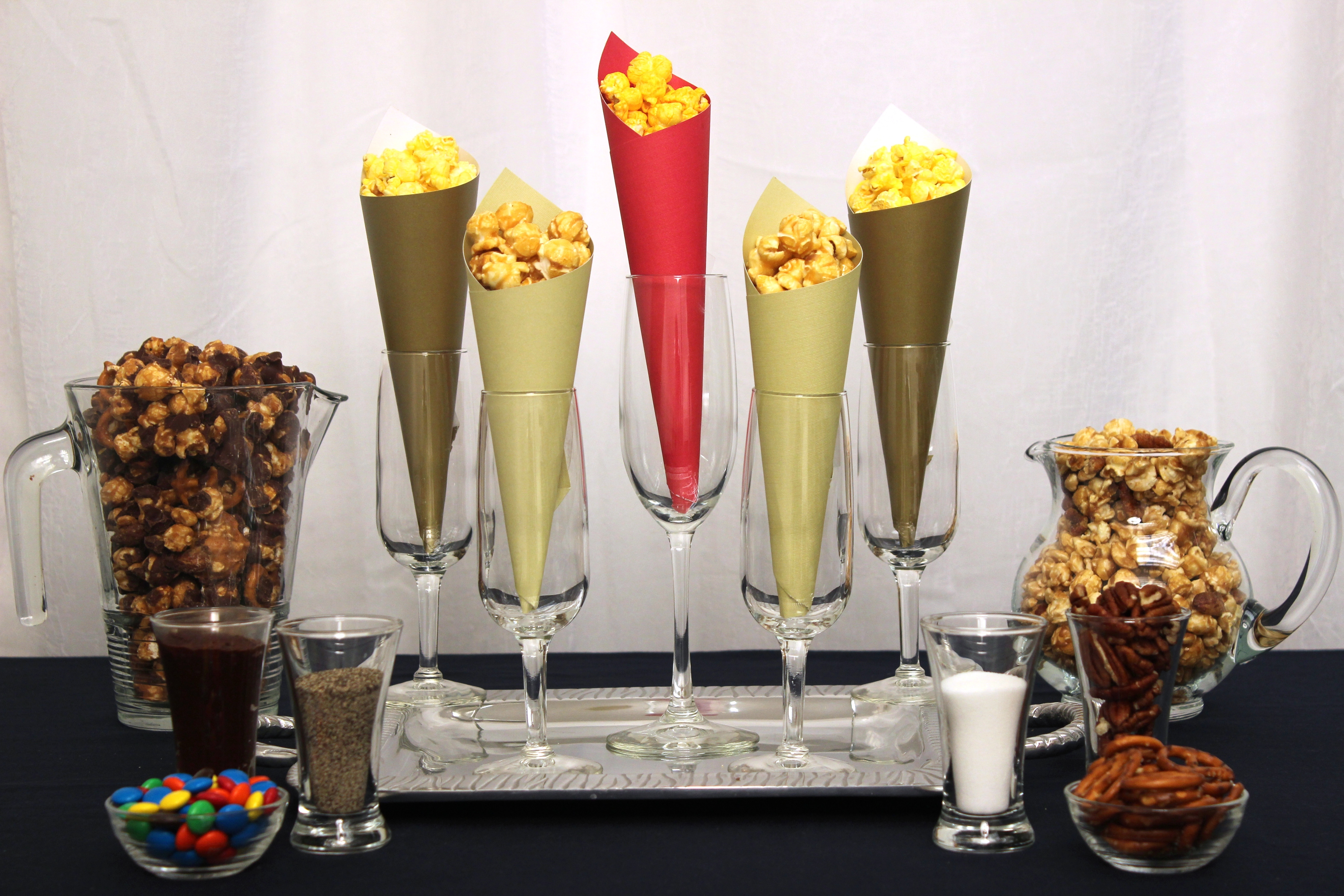 The popcorn bar a sophisticated way to serve popcorn at for High end event ideas