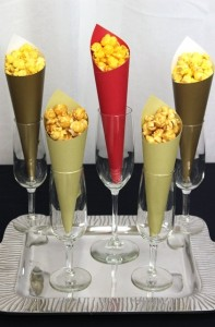 Popcorn Cones Served in Champagne Glasses