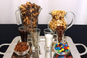 Popcorn Toppings Served in Shot Glasses