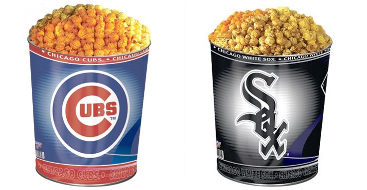 Chicago Cubs and Chicago White Sox 3-Flavor MLB Popcorn Tins