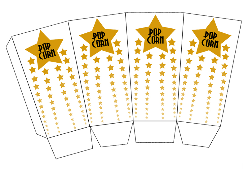 Oscar Party Popcorn Box Template
